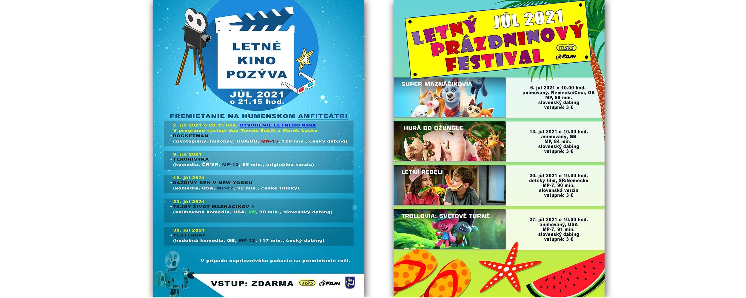 letné kino a prázdninový festival
